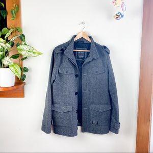 Kr3w Woven Jacket City Zip Up Pea Coat L